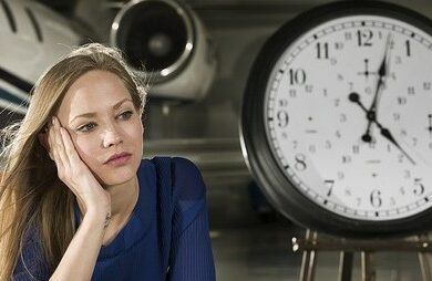 woman looking at the time