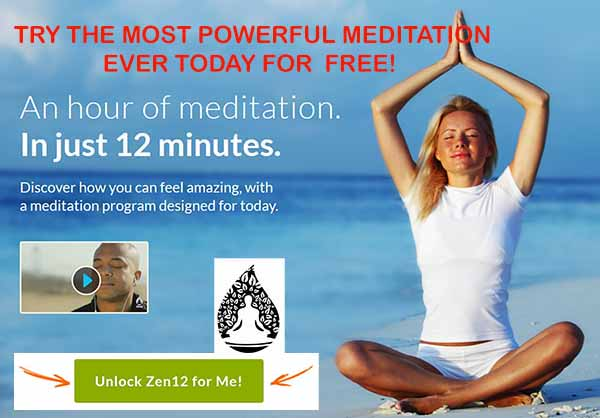 Woman meditating on a beach, promotion for Zen 12 meditation program