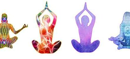 Four figures meditating with energy bodies