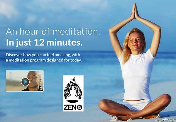 woman meditating on beach with Zen 12