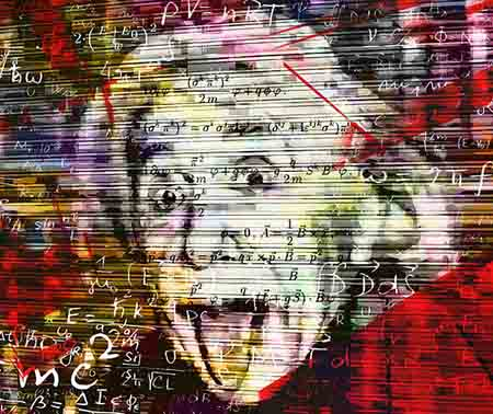 Albert enstein surrounded by equations