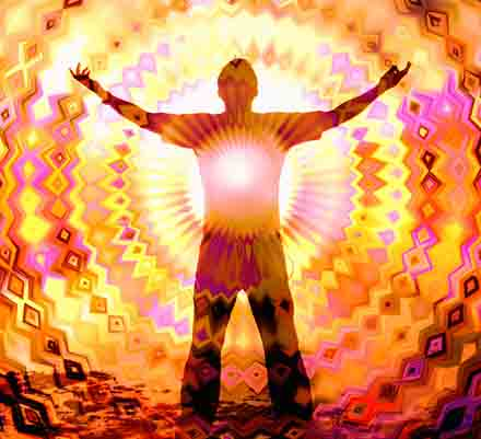 man emitting vibrations from his heart centre