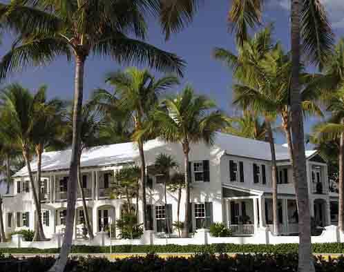 Wealthy mansion with palm trees