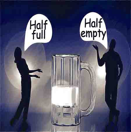 two people looking at glass half full with different opinions